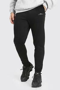 Boohoo Black Skinny Fit MAN Signature Embroidered Joggers Size XXS VR279 014
