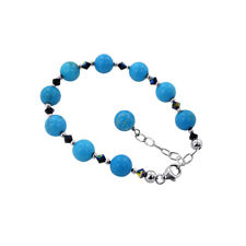 """925 Silver Turquoise Beads 7 to 9"""" Bracelet with Swarovski Elements Crystal"""