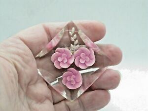 Vintage Perspex Encased Pink Flower Pin Brooch