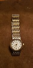 Vintage Geneva womens quartz watch silver and gold tone band easy read numerals