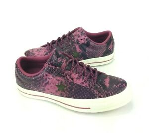 NEW Converse One Star Ox Snake Skin Wine Purple White Womens Low Shoes Sneakers