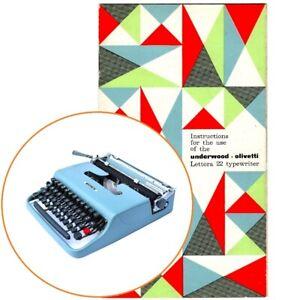 OLIVETTI LETTERA 22 TYPEWRITER INSTRUCTION MANUAL Antique Underwood Vtg Repro