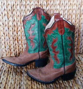 Old West 11D Kids Western Brown & Green Leather Top Stitched Cowboy Boots