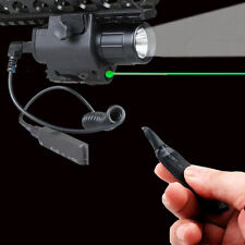 Tactical Green Laser Sight LED Flash Light Combo + Rail Mount Remote Switch