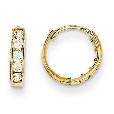 Madi K Childrens 14k Yellow Gold Polished Channel Set CZ Hinged Hoop Earrings