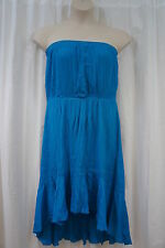 Swim Cover Coco Bianco Sz M Blue Sheer Strapless Beach Wear Cover Up