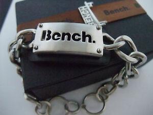 BENCH LOGO MEN'S MAN'S CHUNKY BLACK & BRUSHED STEEL IDENTITY BRACELET new boxed