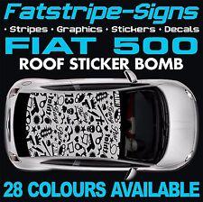 FIAT 500 grafica STICKER BOMB TETTO Decalcomanie Adesivi Strisce 1.0 1.2 ABARTH PISTOLA