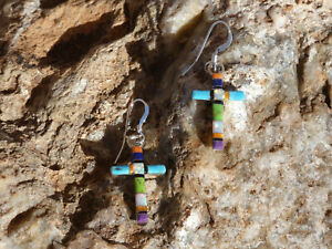 Southwestern 925 Multi Stone Inlayed And Opal Cross Earrings French Wire NEW S99