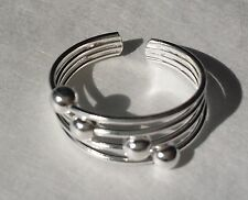 Sterling Silver 925 Toe Ring 4 Sliding Silver Beads Adjustable