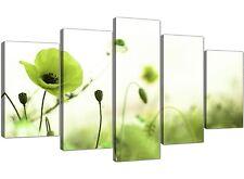 EXTRA Large Verde Lime Poppy Field-tela fiori set 5-larghezza 160cm