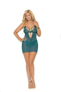 Mesh & Lace Babydoll w/Keyhole Front & Back, Panty Adult Woman Lingerie Clothing