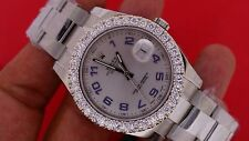 Rolex 41 MM Date Just II 2 Steel Statement Watch 3.5 Cts Diamond Bezel Best Deal