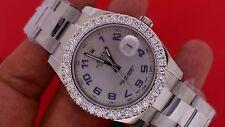 Rolex 41 MM Date Just II 2 Steel Statement Watch 3.5 Cts Diamond Bezel Best Deal