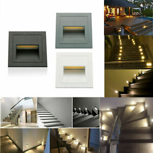 3W Waterproof LED Wall Stair Night Recessed Light Outdoor Garden Step Stairs UK