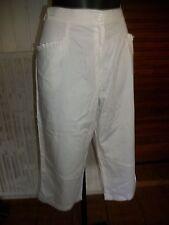Pantalon court Pantacourt polyester blanc stretch CHRISTINE LAURE 48F 46D16ET16