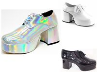Fancy Dress Saturday Night Fever - White Silver Retro 70's Disco Platform Shoes