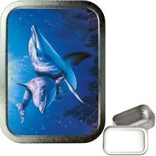 Blue Dolphin 2oz Silver Tobacco Tin, Airtight sealed Tobacco Tin