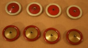 8 MECCANO 1930s Metal Road Wheels #187! Red/Gold & Red/White!