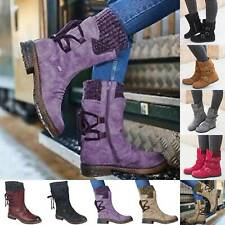 Winter Womens Mid Calf Boots Ladies Casual Buckle Zipper Flat Stretch Snow Shoes
