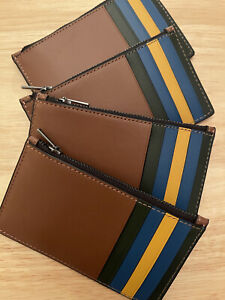 NEW Coach Men's Calf Leather Colorblock Zip Card Case in Redwood Multi 1273