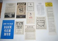 10 Vintage 1930s to 1970s Board Game Instructions / Rule Sheets / Rule Booklets