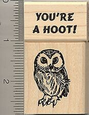 2 pc. you're a hoot and owl Rubber Stamp set Wood Mount