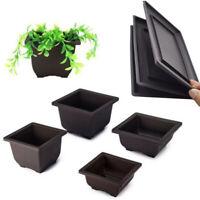 Flower Pot + Tray Square Nursery Planter Basin Home Garden Bonsai Plant Useful