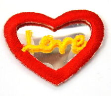 3X LOVE RED HEART SHAPED MIRROR Embroidered GLUE ON Patch Badge  APPLIQUE