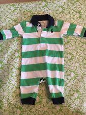 Ralph Lauren Polo Baby Boy Rugby Stripe One Piece 3M Green