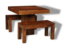 Dakota Dark Solid Mango 90cm Cube Dining Table and 2 Small Benches (48n&261n)