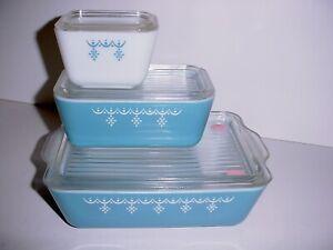 VINTAGE PYREX BLUE WHITE GARLAND SNOWFLAKE REFRIGERATOR DISH SET 501 502 503