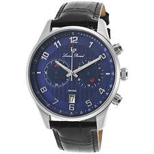 Reloj de Cuarzo Lucien Piccard 11187-03 Negro de Cuero Genuino Esfera Azul para hombres