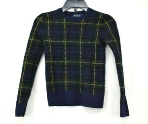 Polo Ralph Lauren Kid Green Blue Plaid Long Sleeve Crew Neck Pullover Sweater 8