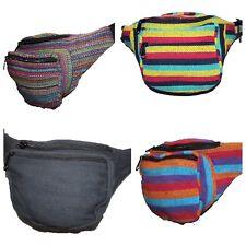 Two Pocket Canvas Bum Bag Utility Belt Money Fanny Pack Festival Hippy Boho Zip