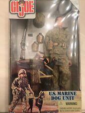 "Gi Joe Us Marine Dog Unit 12"" Action Figure w/ Doberman Pinscher 1999 New"