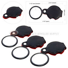 3 Piece Folding 8X Magnifiers Glass Flip-out Travel Magnifying Swivel Pocket