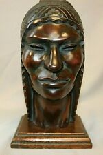 "Vintage Hand Carved Wood Woman Sculpture  9"" by 5"""