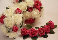 Wedding Bouquet, Posy & Buttonholes Bundle in Hot Pink & White glitter net Roses