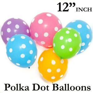 "12"" Inch POLKA DOT BIRTHDAY WEDDING PARTY LATEX PRINTED BALLOONS DECORATIONS"