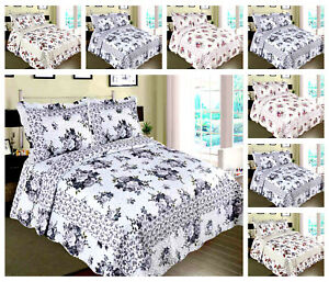 Patchwork Bedspread 3 Piece Quilt Comfort bed Throw Vintage Set Double/King size