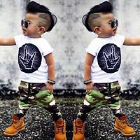 Neonato Bambino Completo Vestiti T-Shirt Top + Mimetica Pantaloni 2pcs Set UK