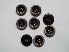8pc 35mm Black with Coffee Cream Rim Jacket Cardigan Suit 4 Hole Button 1486