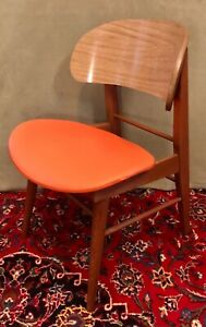 """Mid Century Modern Clam Shell Chair Faux Wood Laminate and Orange Vinyl 30"""" H"""