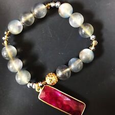 """10 MM Natural 6A Blue Fire Moonstone & Ruby Happiness Chakra Bracelet 6.25"""""""