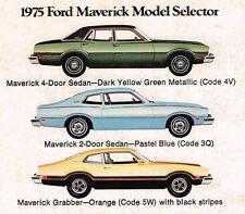1975 Ford MAVERICK Brochure / Catalog with Spec's: GRABBER,