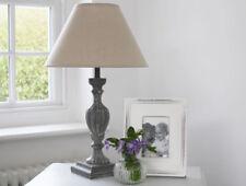 LARGE SHABBY FRENCH GREY VINTAGE ORNATE ANTIQUE BEDSIDE LAMP BASE LINEN SHADE