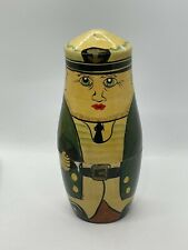 Vintage Russian Wooden Nesting Doll - Sailor Captain Figurine Hand Painted