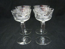 "Radio Brand RFG4 Fine Crystal 4-5 1/4"" Liquor Cocktail Glasses CUT STARS ec"