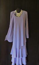 CATTIVA Size 18 Lilac Ladies Designer Layered Wedding Dress & Jacket Outfit US16